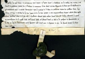 Charte en français de 1265 : Vente du pressoir du Chesnoy à la léproserie de Pontfraud. Archives départementales de l'Yonne, H 2405.