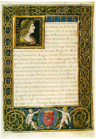 Marlianus, Epithalamium. Portrait de Mathias Corvin en empereur romain. Manuscrit préparé pour le mariage du fils de Mathias Corvin. Jean, avec Bianca Maria Sforza, en 1487. Volterra, Bibl. Guarnacci, ms. lat. 5518, f. 5