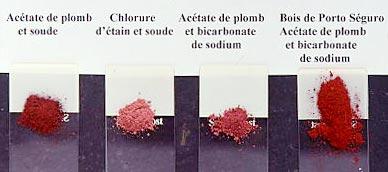 Illustration 3. Poudres de différentes laques de brésil avec indication du réactif associé.