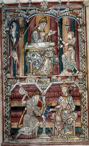 Pline l'Ancien écrivant, Le Mans, BM, ms. 263, f. 10v.