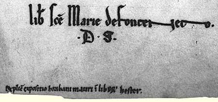 Cote et ex-libris de l'abbaye de Fontenay