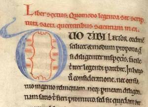 Didascalicon d'Hugues de Saint-Victor. Encyclopédie du XIIe siècle, début du livre VI, Paris, bibliothèque Mazarine, ms. 717, f. 93v.