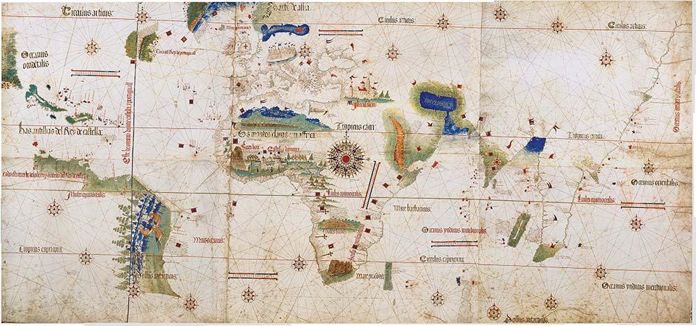 planisphère de Cantino réalisé en 1502 est la plus ancienne représentation des voyages de Christophe Colomb dans les Caraïbes, de Gaspar Corte-Real à Terre-neuve. Modène, Biblioteca Estense.