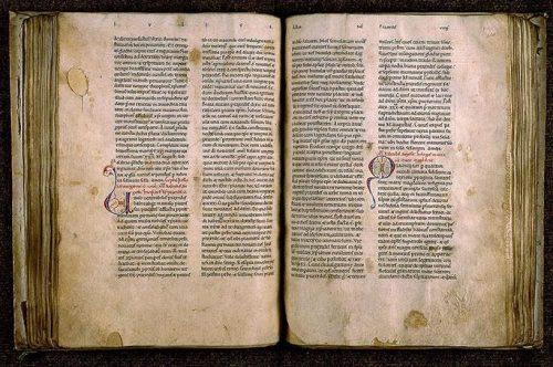 Paris, Bibl. Sainte-Geneviève, ms. 554, f. 99v-100. Passionnaire (partie mai-août), Ouest de la France, seconde moitié du XIIe s.
