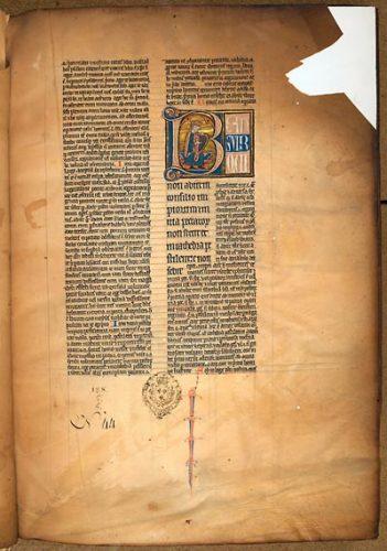 Paris, Bibl. de l'Université, ms. 13, f. 2. Pierre Lombard, Commentaire sur les psaumes, Paris ? milieu du XIIIe s.