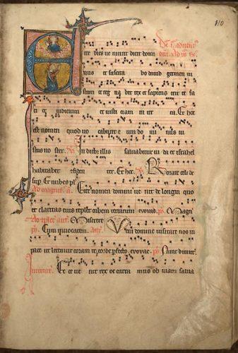 Cambrai, Bibl. mun., ms. 38, f. 10. Antiphonaire à l'usage de Cambrai, Cambrai, entre 1235 et 1245.