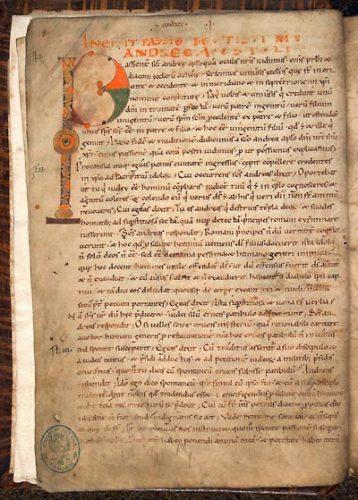 Cambrai, Bibl. mun. ms. 863, f. 2v. Lectionnaire de l'office (lectures hagiographiques et patristiques du sanctoral), Cambrai, abbaye Saint-Sépulcre, 1076-1092.