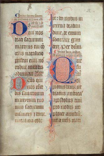 Cambrai, Bibl. mun., ms. 42, f. 33. Collectaire à l'usage de Cambrai, Nord de la France ? seconde moitié du XIVe s.