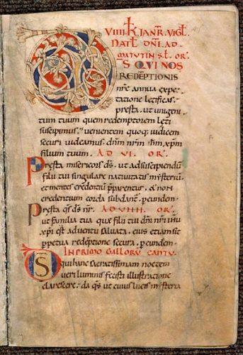 Angers, Bibl. mun., ms. 103, f. 45. Collectaire à l'usage de l'abbaye Saint-Maixent, Saint-Maixent, XIe s.