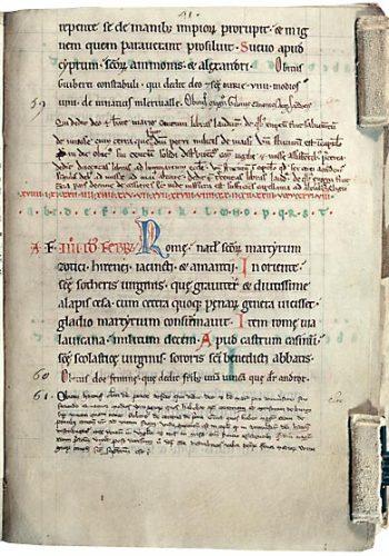 Laon, Bibl. mun., ms. 341, p. 41. Martyrologe-obituaire du chapitre de Laon, Laon, 1157-1164.
