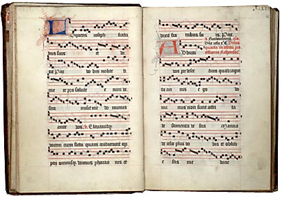 Paris, Bibl. Mazarine, ms. 542, f. 15v-16. Processionnal à l'usage des Trinitaires de Saint-Maturin de Paris, Paris, première moitié du XVe s.