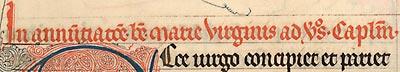 Détail : Cambrai, Bibl. mun., ms. 48, f. 197. Bréviaire de Cambrai, France du Nord, dernier quart du XIIIe s.