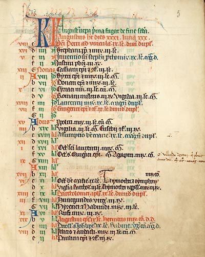 Cambrai, Bibl. mun., ms. 33, f. 5. Bréviaire de Cambrai, Cambrai ? 1253-1299.