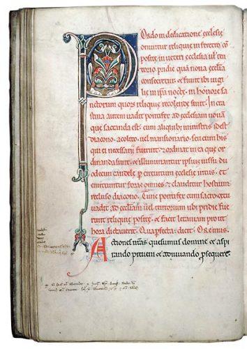 Orléans, Bibl. mun., ms. 144, f. 69v. Pontifical de Chartres adapté à l'usage d'Orléans, France, début du XIIIe s.