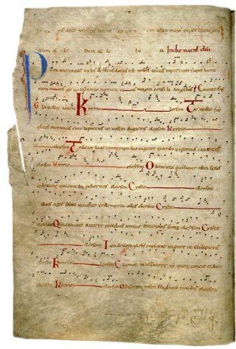 Angers, BM, ms. 96, f. 19v. Graduel, France, première moitié du XIIe s.