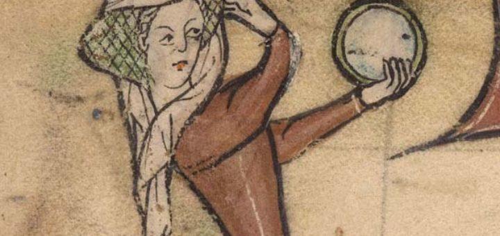 Femme ajustant sa coiffe devant un miroir, Abbeville, BM, ms. 3, f. 5.