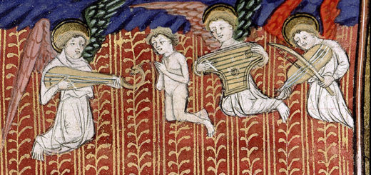 Âme montant au ciel accompagnée d'anges musiciens. Paris, Bibl. Sainte-Geneviève, 1130, f. 108.
